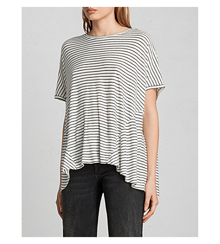 ALLSAINTS Elena striped jersey T-shirt (Ecru+white/bla