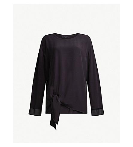 ALLSAINTS Ricco tie-detail woven top (Black