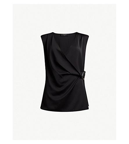 ALLSAINTS Draped woven top (Black