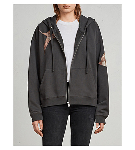 ALLSAINTS Birds printed cotton-jersey hoody (Washed+black