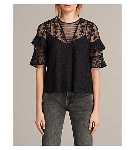 ALLSAINTS Henrietta floral-embroidered top (Black