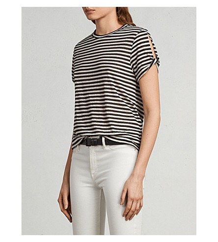 ALLSAINTS Mazzy striped jersey T-shirt (Black/chalk+wh