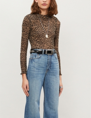 Kiara high-neck leopard-print plissé top