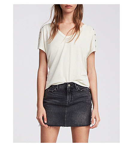 ALLSAINTS克鲁兹棉 t恤衫 (复古 + 白色)