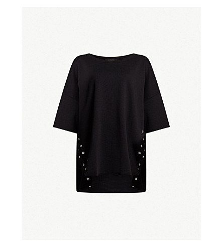 ALLSAINTS 克鲁兹特大平纹针织棉卫衣 (黑色