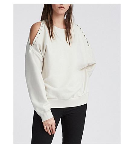 ALLSAINTS 克鲁兹 Unai 平纹针织棉卫衣 (象牙 + 白色