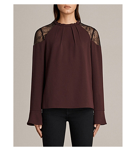 ALLSAINTS Jay crepe and lace top (Bordeaux+red