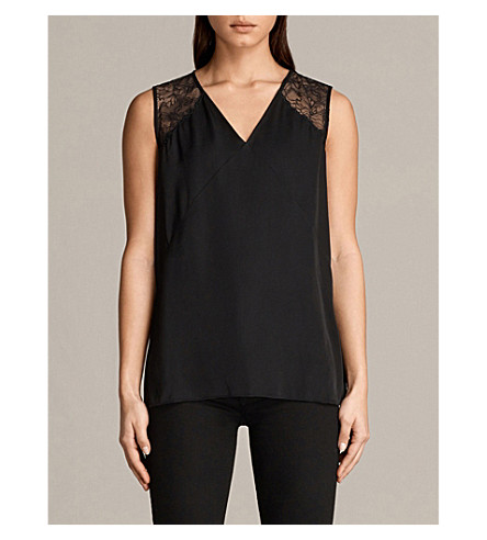 ALLSAINTS Prism lace-shoulder satin top (Black