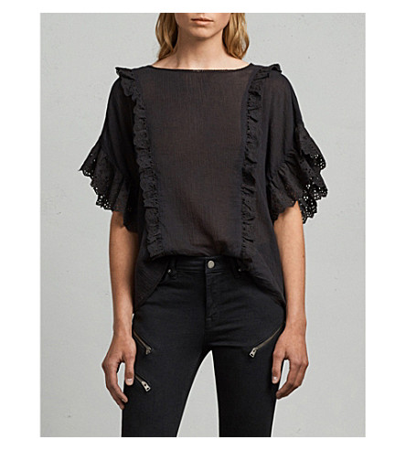 ALLSAINTS Isa ruffled broderie anglaise crepe top (Black