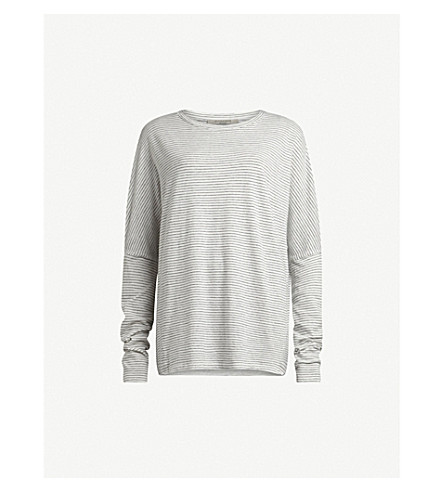 ALLSAINTS Chalk white/bl wave stripe tee m (Chalk+white/bl