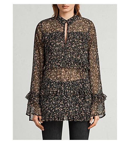 ALLSAINTS Deirdre floral-print crepe shirt (Black