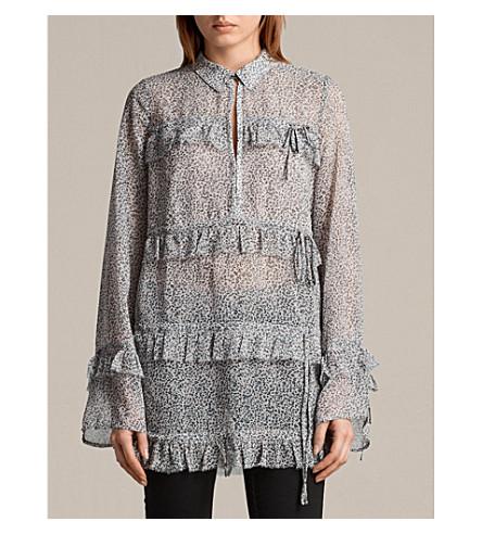 ALLSAINTS Deirdre ruffled tiered shirt (Pale+pink