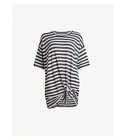 ALLSAINTS Meli striped knotted jersey T-shirt (Chalk+charcoal