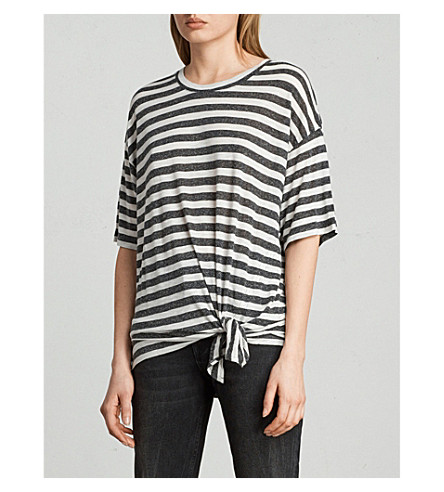 ALLSAINTS Meli striped knotted jersey T-shirt (Chalk/charcoal