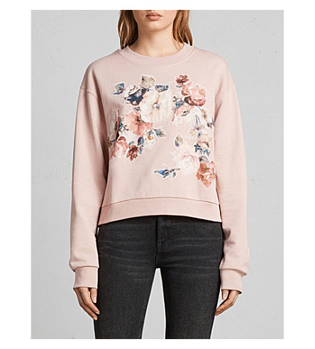 ALLSAINTS Kyla embroidered floral-motif cotton-jersey sweatshirt (Blush+pink