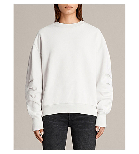 ALLSAINTS Violet ruched-detail cotton-jersey sweatshirt (Ivory+white