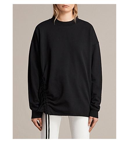 ALLSAINTS Able drawstring cotton-jersey sweatshirt (Jet+black