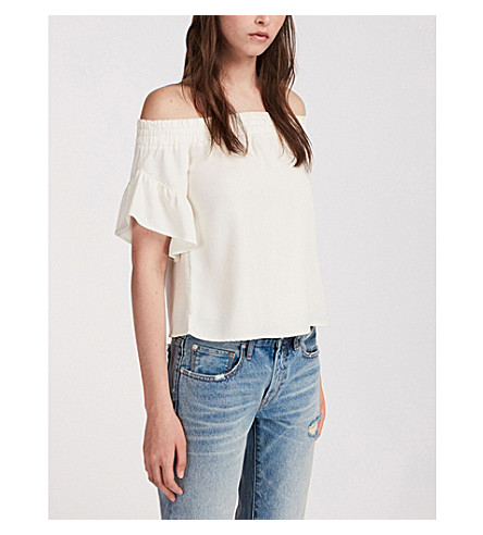 ALLSAINTS chambray top Chalk blanco Adela qanqwRr8