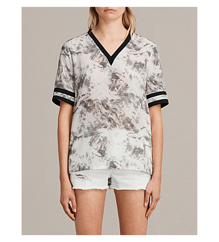 ALLSAINTS Ana Tyde tie dye-print silk top (Soap+grey
