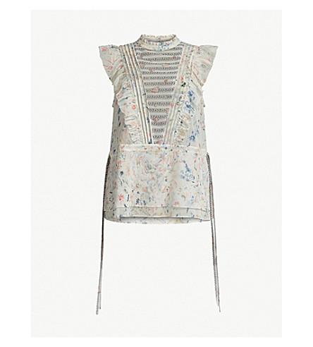 ALLSAINTS Lena Juni floral-print chiffon top (Chalk+white