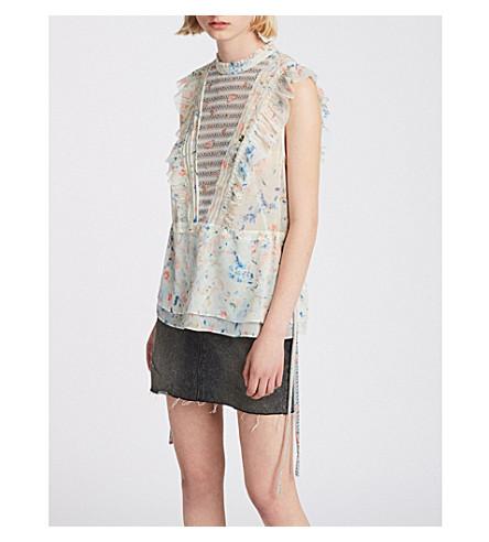 ALLSAINTS花-印花雪纺上衣 (粉笔 + 白色