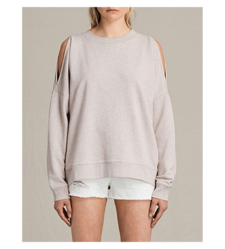 ALLSAINTS Unai cold-shoulder cotton-jersey sweatshirt (Light+cami+pin