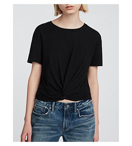 ALLSAINTS Carme knotted cotton-jersey T-shirt (Jet+black