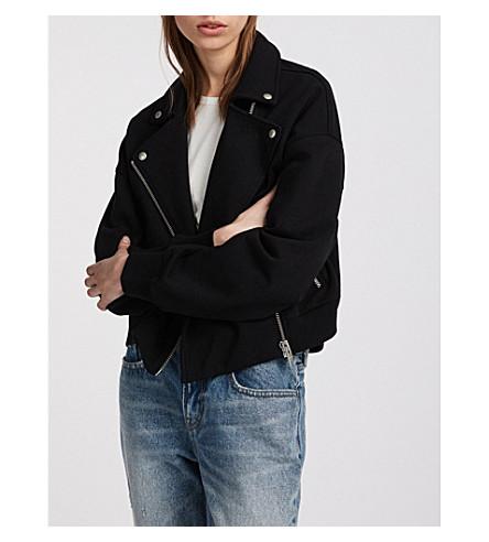 ALLSAINTS不对称棉摩托夹克 (喷气 + 黑色