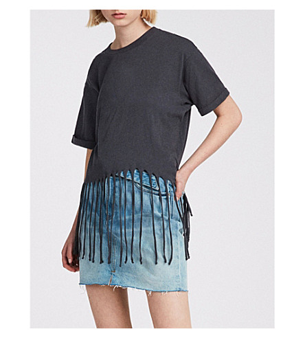 ALLSAINTS Tami fringed cotton T-shirt (Washed+black