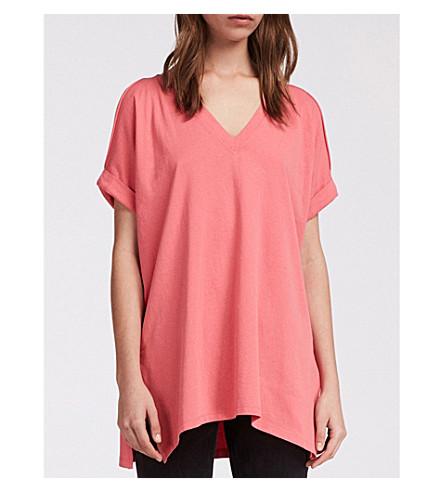 frío de punto rosa de algodón ALLSAINTS Camiseta color coral 4PpRnq
