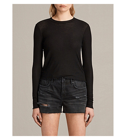 ALLSAINTS Bea cropped jersey T-shirt (Black
