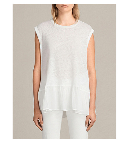 ALLSAINTS Jody linen top (Chalk+white