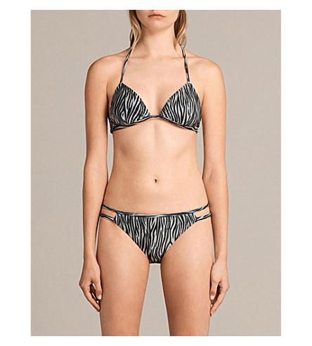 ALLSAINTS Agnes zebra-print bikini top (Black/white
