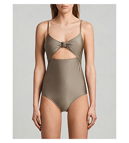 ALLSAINTS Rita metallic swimsuit (Planet+grey