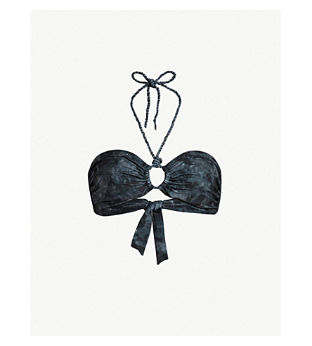 ALLSAINTS Tie dye-print bikini top (Washed+black