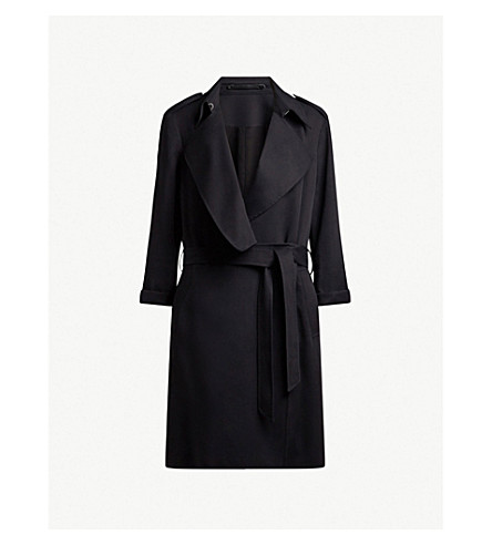 ALLSAINTS Bexley woven trench coat (Ink+blue