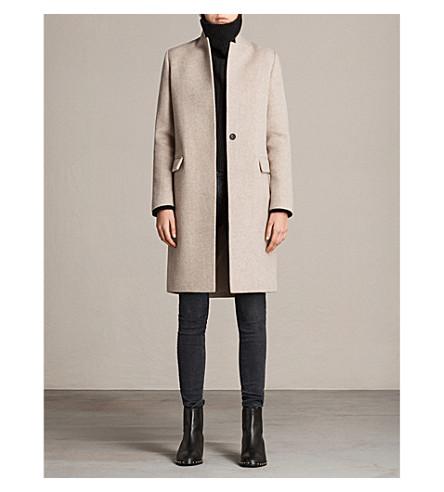 ALLSAINTS Evelyn wool-blend coat (Oatmeal+brown