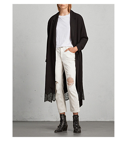 ALLSAINTS Sandra lace-trimmed crepe trench coat (Black