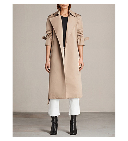 ALLSAINTS Miley cotton trench coat (Sand+brown