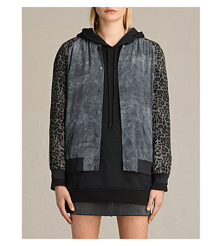 ALLSAINTS Amy printed silk-crepe bomber jacket (Grey