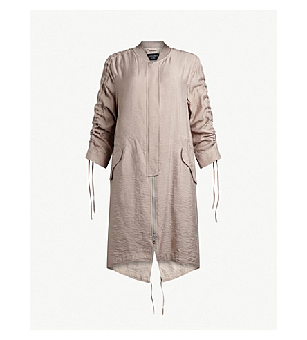 ALLSAINTS Ellis stand-collar crepe parka coat (Dusty+pink