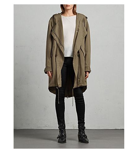 ALLSAINTS Cody oversized woven parka coat (Dark+sage+gree