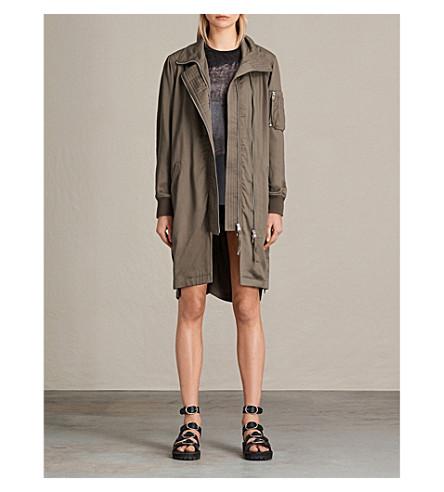 ALLSAINTS Oren twill parka coat (Dark+fern+gree