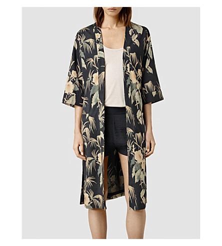 Floral-print kimono