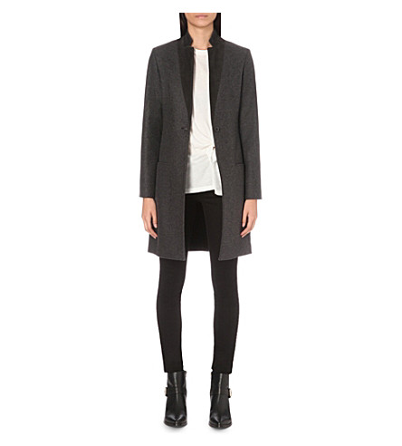 ALLSAINTS Leni wool-blend coat (Charcoal+grey