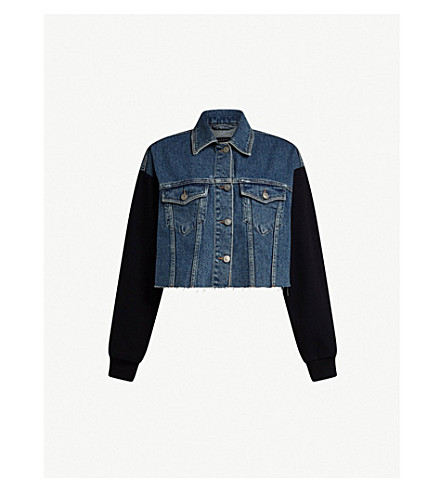 ALLSAINTS Anders denim and cotton-jersey jacket (Indigo+blue