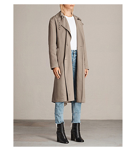 ALLSAINTS Sirena twill trench coat (Sage+green