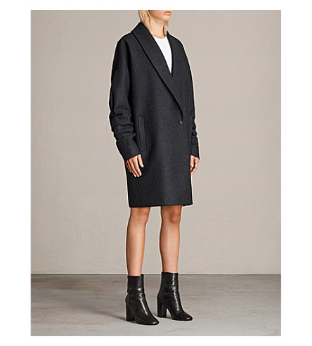 ALLSAINTS Kenzie Ruche wool-blend coat (Charcoal+grey