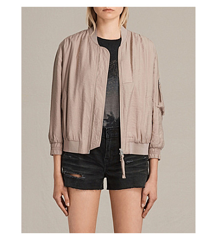 ALLSAINTS Angie satin bomber jacket (Dusty+pink