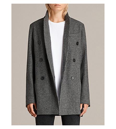ALLSAINTS Astrid checked wool-blend blazer (Grey+check